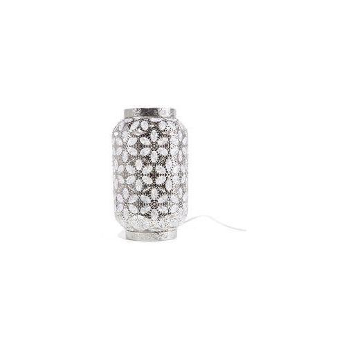 Lampka stołowa metalowa srebrna SAJO M