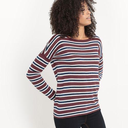 Sweter w cienkie paski z włókien metalicznych, R studio
