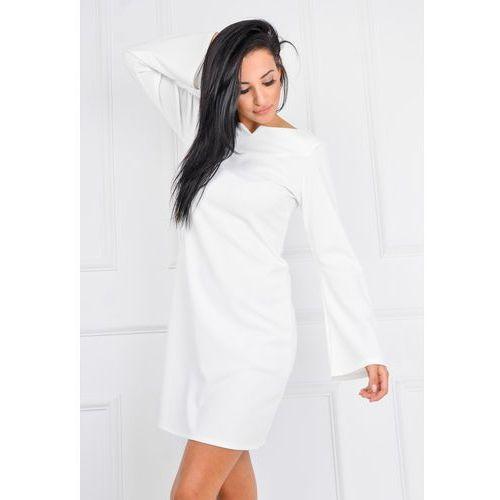 Sukienka z szerokimi rękawami, kolor biały