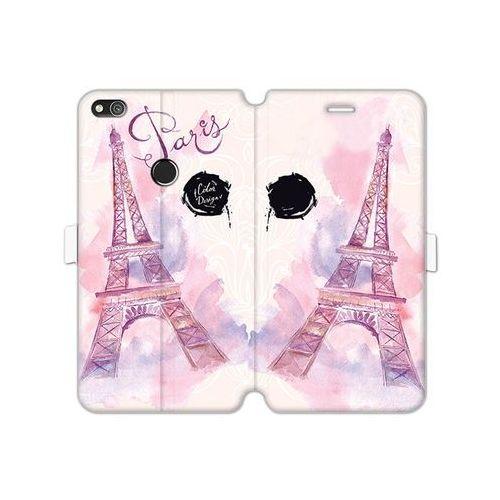 Huawei P8 Lite (2017) - etui na telefon Wallet Book Fantastic - różowa wieża eiffla, kolor różowy