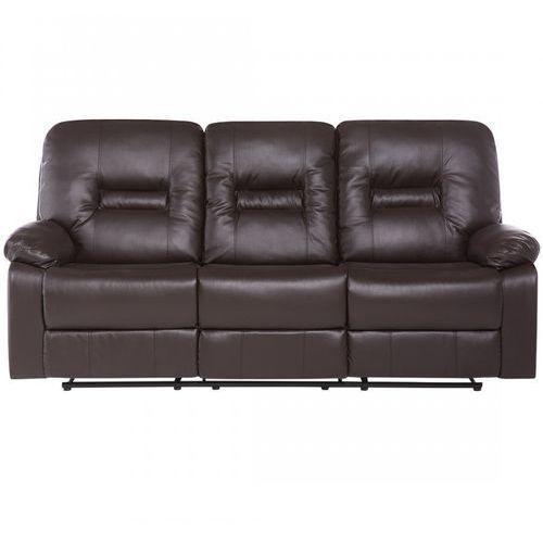 Sofa skóra ekologiczna trzyosobowa brązowa rozkładana rinoceronte marki Blmeble
