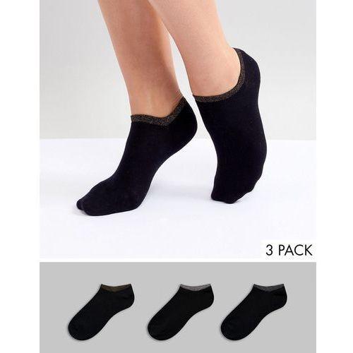 Monki 3 pack sports sneaker socks with rainbow edge in Black - Black