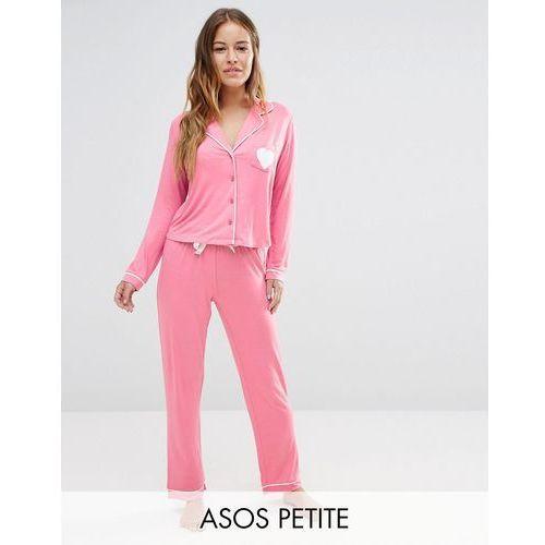 ASOS PETITE Traditional Jersey Long Sleeve Shirt & Long Leg Pyjama Set - Pink
