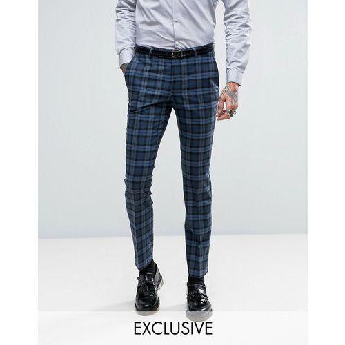 super skinny suit trousers in check - blue wyprodukowany przez Noose & monkey