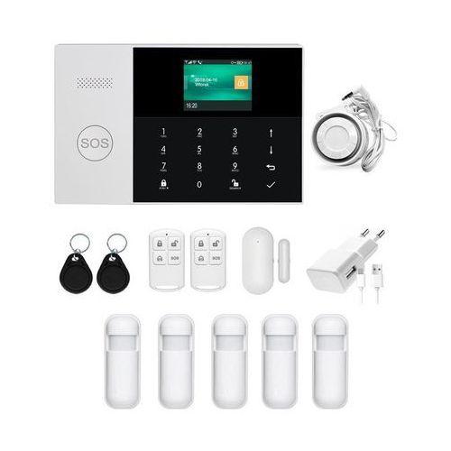 Bezprzewodowy alarm gsm + wifi pg105 r5 + syrena 105 db - 5 czujników ruchu \ syrena przewodowa 105 db marki Pgst