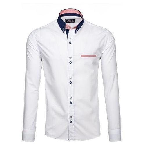 Biała koszula męska elegancka z długim rękawem Bolf 6945 - BIAŁY