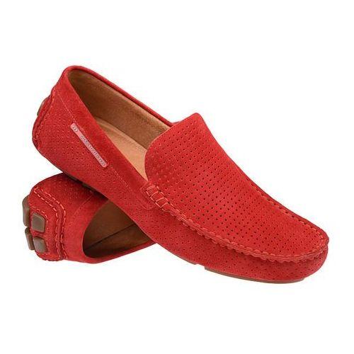 Mokasyny BADURA 3219-1025 Czerwone męskie wsuwane - Czerwony, kolor czerwony
