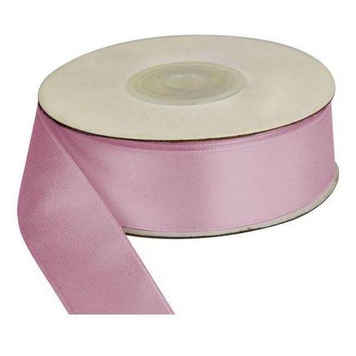 Wstążka różowa jasna 25m dł x 25mm szer, CRAFT-FUN - jasno-różowy
