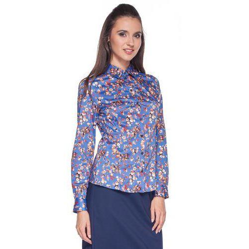 Niebieska koszula w kwiaty - Duet Woman