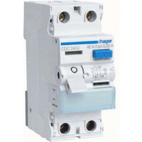 Hager - RCCB Wyłącznik różnicowoprądowy 2P 40A/30mA Typ AC - CDC240J - sprawdź w wybranym sklepie