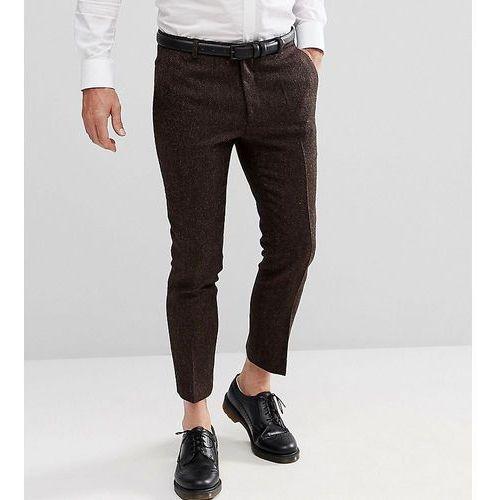 Heart & dagger woven in england skinny cropped trouser in herringbone - brown
