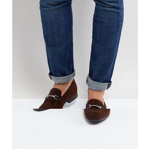 design loafers in brown faux suede with snaffle detail - brown, Asos