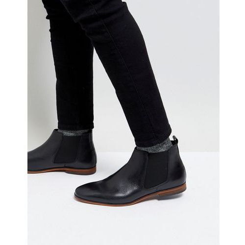 leather chelsea boots in black - black, Pier one