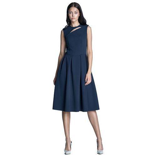 Sukienka midi - granat - S73, kolor niebieski