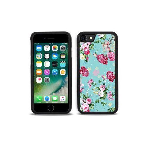 Apple iPhone 7 - etui na telefon Aluminum Fantastic - różyczki na miętowym tle, kolor różowy