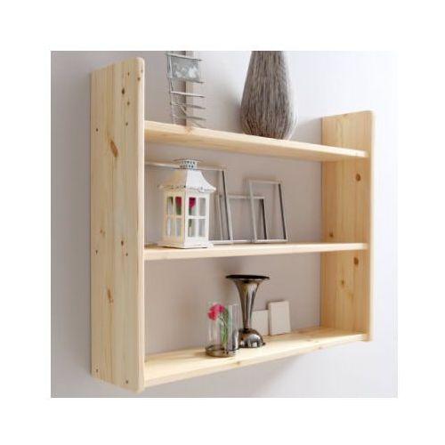 TICAA Regał ścienny, drewno sosnowe, kolor naturalny, trzy półeczki, szeroki
