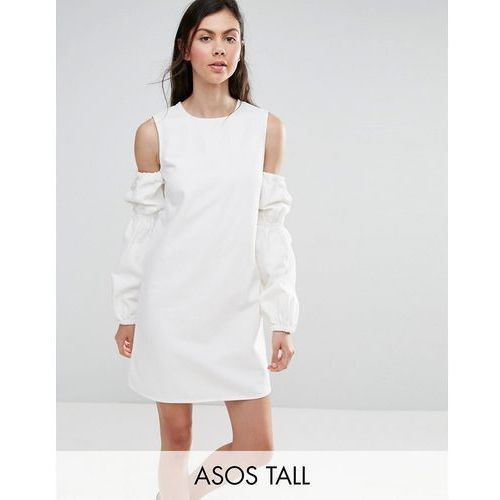 Asos tall  denim shift dress in white with puff sleeve and cold shoulder - white