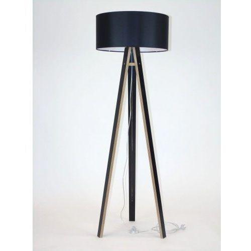 Lampa podłogowa drewniana wanda - czarna/czarny abażur marki Ragaba