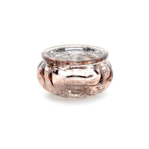 Świeczniki szklane - różowe złoto - 3 cm - 4 szt. (5900779111974)