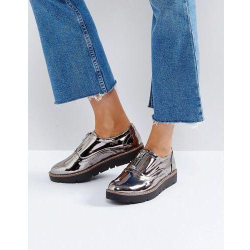 London Rebel Zip Front Flatform Shoe - Grey
