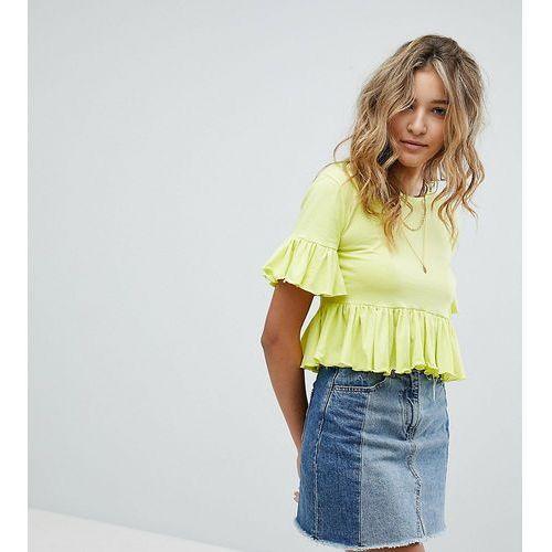 Prettylittlething cropped ruffle t-shirt - yellow