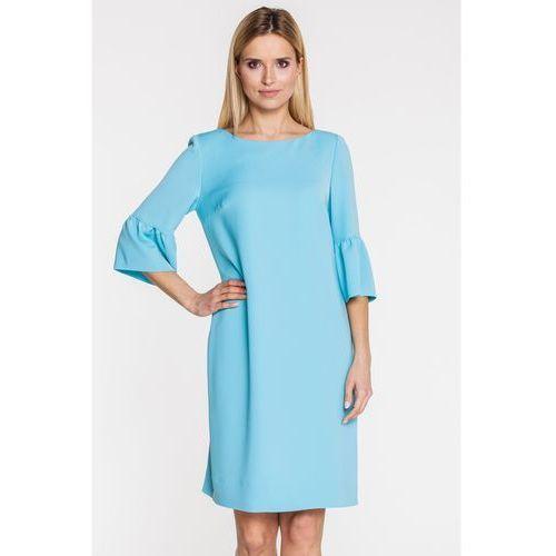 Morska sukienka z hiszpańskim rękawkiem - GaPa Fashion, kolor niebieski