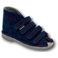 Kapcie profilaktyczne  wzór 012d na 4 rzepy, kolor jeans z czerwoną nitką marki Adamki