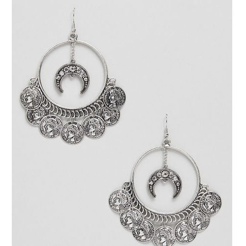 Sacred Hawk coin drop hoop earrings - Silver