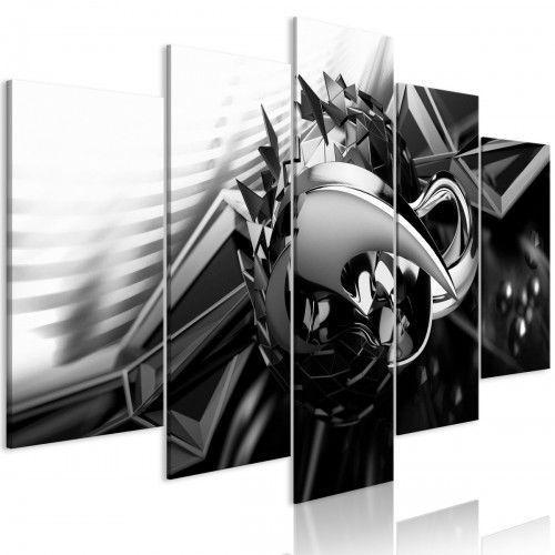 Obraz - Metalowa konstrukcja (5-częściowy) szeroki czarno-biały
