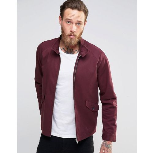 harrington jacket with funnel neck in burgundy - red, Asos