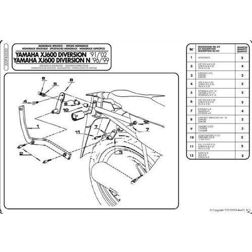 Stelaż Kappa K3250 Yamaha XJ 600 Diversion 91-03