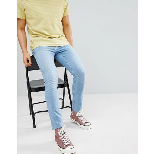 River Island Skinny Jeans With Raw Hem In Light Wash Blue - Blue, jeans