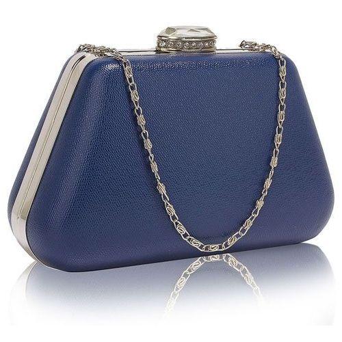 Gładka torebka wizytowa z kryształowym zamknięciem ciemny niebieski - niebieski marki Wielka brytania