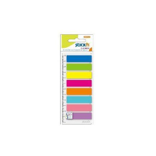 Zakładki stick'n paski + linijka 12 x 45 mm 8 kolorów x 25 karteczek - x06010 marki Stickn