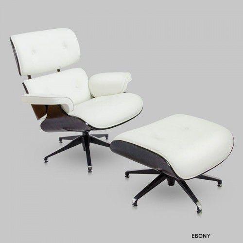 Fotel z Podnóżkiem Kopenhaga biała skóra/ebony, kolor biały
