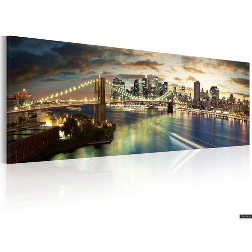 SELSEY Obraz - The East River at night 120x40 cm (5902622533810)