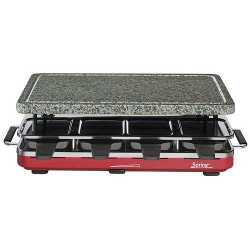 grill elektryczny Raclette 8 z granitową płytą, czerwony - SPRING