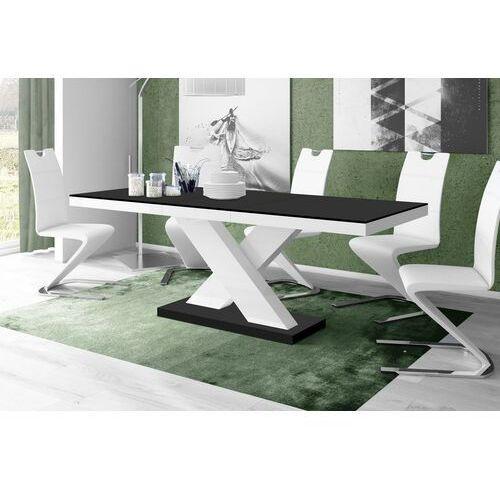 Stół rozkładany xenon 160-208 czarno-biały mat marki Hubertus