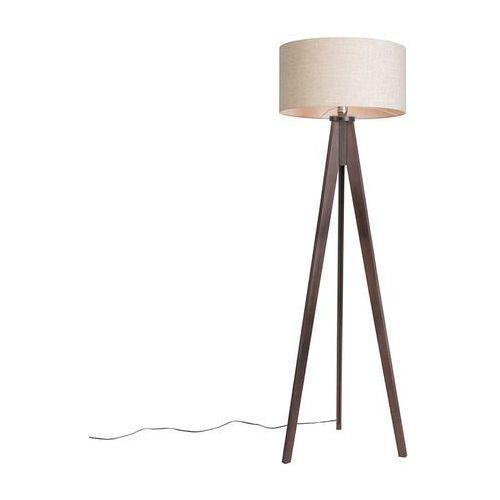 Rustykalna lampa podłogowa z trójnogiem wenge szary klosz - Tripod Classic