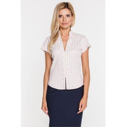 Elegancka bluzka w ozdobne prążki - Duet Woman, kolor biały