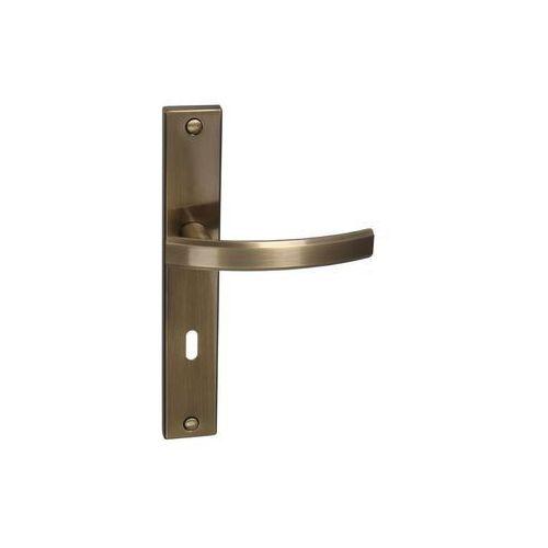 Klamka drzwiowa z długim szyldem pod klucz fiume 72 mosiądz antyczny marki Inspire