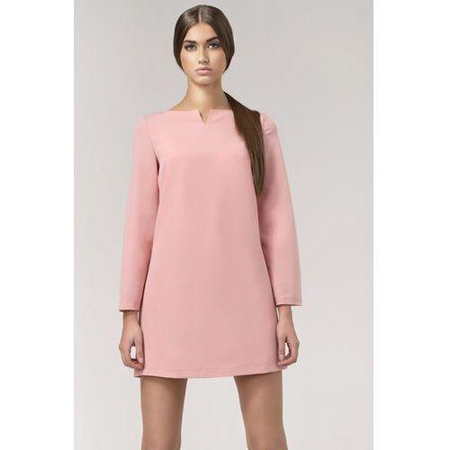 Trapezowa różowa sukienka z rękawem 7/8 marki Nife