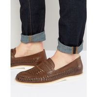 woven loafers in brown leather - brown, Dune