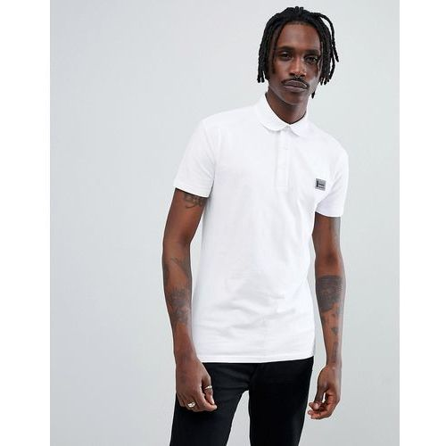 Antony morato jersey polo shirt in white with logo - white