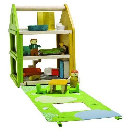 Eko domek dla lalek z matą do zabawy, mebelkami i laleczkami,  marki Plan toys