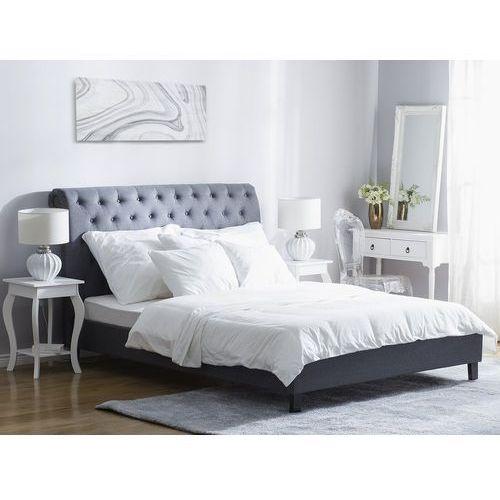 Łóżko szare - 160x200 cm - łóżko tapicerowane - stelaż - REIMS, kolor szary