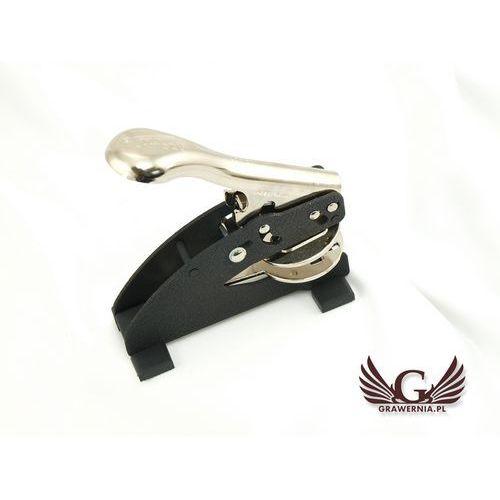 Suchy stempel shiny - odbicie okrągłe 40mm lub 50mm - stempel biurkowy z nóżkami marki Grawernia.pl - grawerowanie i wycinanie laserem
