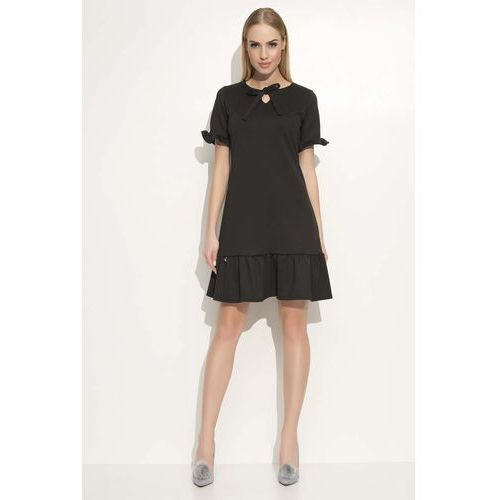 Czarna Sukienka z Wiązaną Kokardką pod Szyją, kolor czarny