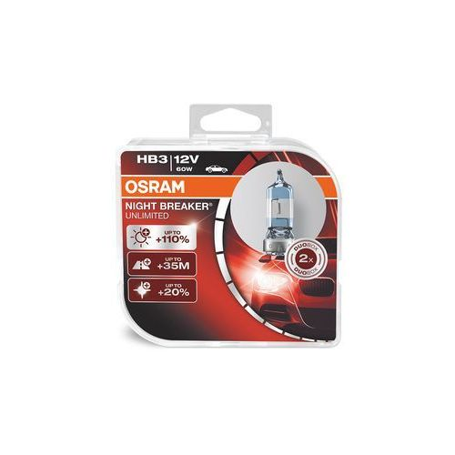 Osram night breaker unlimited hb3, lampa halogenowa reflektory, lampy + 110%, 9005 nbu hcb, 12 v do samochodów osobowych, duo box (2) (4052899030756)