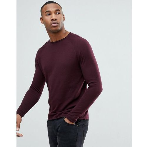 lightweight knitted jumper in burgundy - red marki Bershka